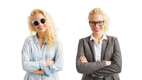 Hipster vs Business woman