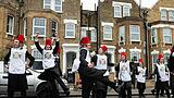 March 21 2019 London England United Kingdom Jewish teenagers dance on the streets of Stamford