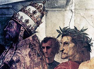 Pope Sixtus IV and the poet Dante detail from The Disputation of the Holy Sacrament 1510 By Raffa