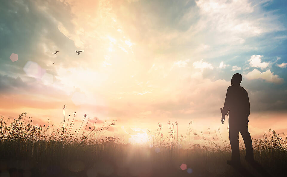 International migrants day concept: Silhouette of human standing to worship God in meadow autumn sunset background