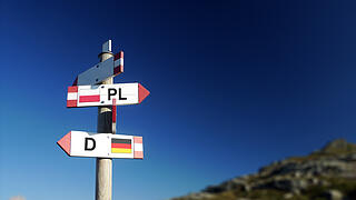Polish and German flags on mountain road sign. Policy and relationships concept