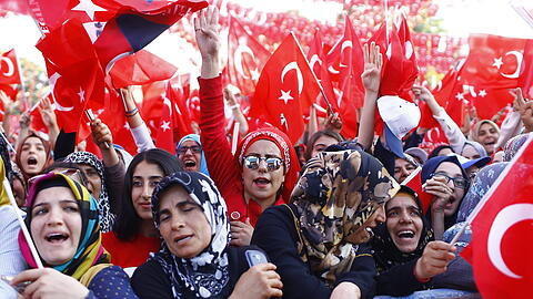 Turkish President Recep Tayyip Erdogan attends a rally in Gaziant