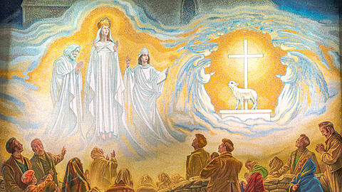 The new mosaic of the apparition of Our Lady, St Joseph, St John Evangelist and the Lamb of God