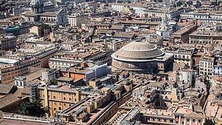 Rome. Coronavirus Emergency. Aerial View of the deserted city. Good Friday: Italian Finance Police helicopter scanning t