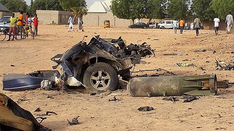 A view shows the damage at the site of an attack by Boko Haram militants in the northeast city of Maiduguri