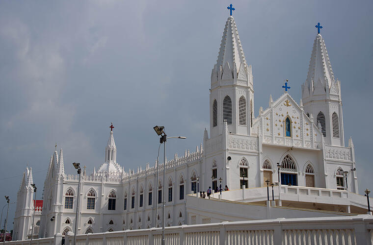 The Basilica of Our Lady of Good Health is located at the small town of Velankanni in the state of Tamil Nadu in southern India.