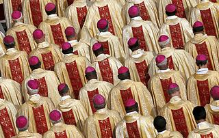 Bishops are seen in attendance as Pope Francis leads the mass for a canonization in Saint Peter's Square at the Vatican
