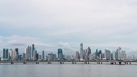 Skyline of Panama city in cloudy day